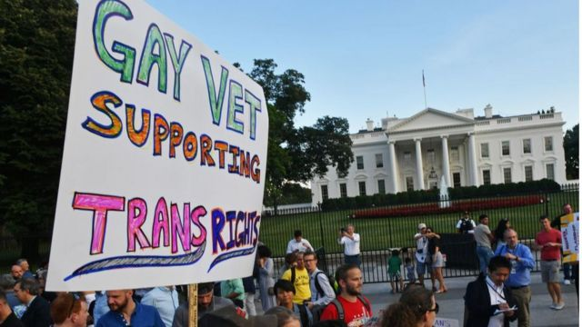 Protesta frente a la Casa Blanca.