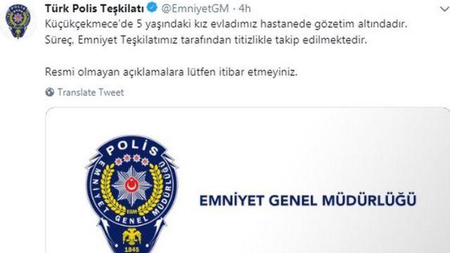 Emniyet Genel Müdürlüğü'nün Twitter hesabından yaptığı açıklama