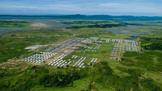 Hla Phoe Khaung transit camp for returning Rohingya refugees is pictured from a Myanmar military helicopter