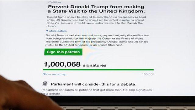 Une pétition demandant au Royaume-Uni d'annuler une visite de Donald Trump a recueilli plus d'un million de signatures lundi après la polémique suscitée par l'interdiction faite aux ressortissants de sept pays musulmans d'entrer aux Etats-Unis.