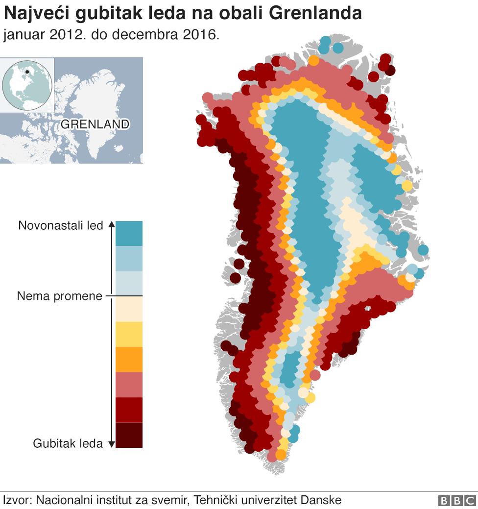 Najveći gubici leda oko obale Grenlanda