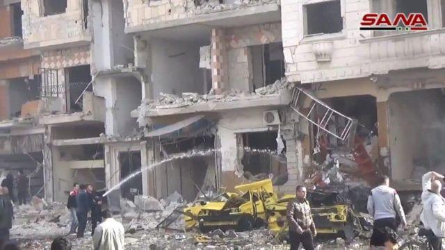 Damaged buildings