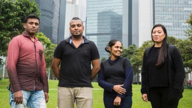 Ajith, 45, Supun, 32, his partner Nadeeka, 32, and Filipino refugee Vanessa Rodel, 40, in Hong Kong