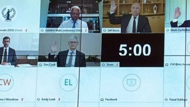 شهادات رؤساء أمازون وغوغل وفيسبوك وآبل أمام الكونغرس في يوليو الماضي