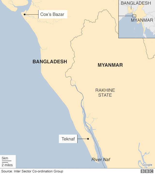 Map showing Cox's Bazar and the Naf river