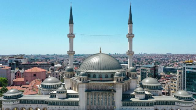 A picture of the mosque, whose construction process began 4 years ago, in Taksim Square in Istanbul, Turkey on May 25, 2021