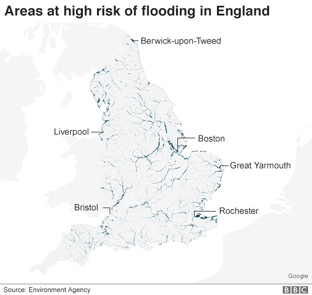 Map showing areas at high risk of flooding in England