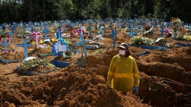 Covas sendo abertas em cemitério de Manaus, em 31 de dezembro de 2020