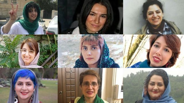 از بالا راست، رها عسگریزاده، نوشین جعفری، نرگس محمدی، صبا کردافشاری، مرضیه امیری، پریسا رفیعی، آتنا دائمی، نسرین ستوده و سپیده قلیان