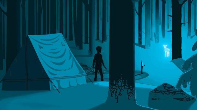Ilustração de Harry Potter visto em pé do lado de fora de uma tenda em uma floresta à noite, enquanto uma corsa brilhante se aproxima