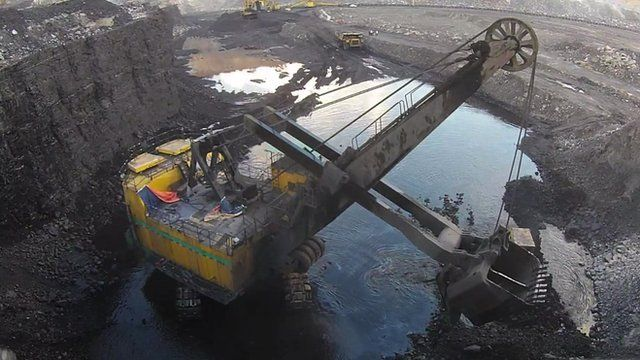 A machine digging for coal