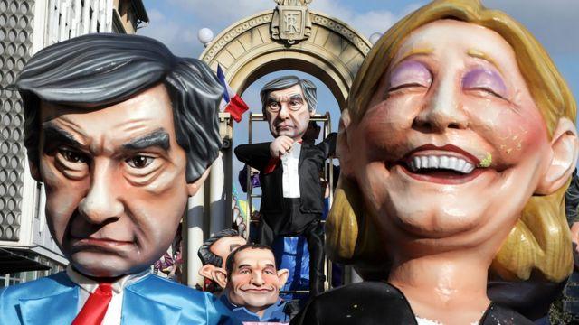 Фигуры Фийона и Ле Пен на карнавале в Ницце