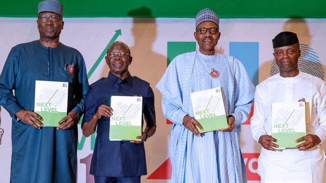 Boss Mustapha, Adams oshiomọle, Muhammadu Buhari ati Yẹmi Ọsinbajo