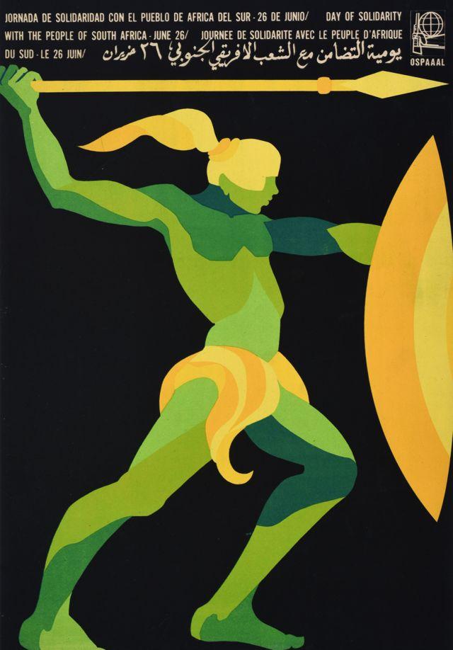 Une affiche Ospaaal intitulée Journée de solidarité avec le peuple d'Afrique du Sud, 1968, montrant un dessin stylisé d'un guerrier avec une lance et un écu.