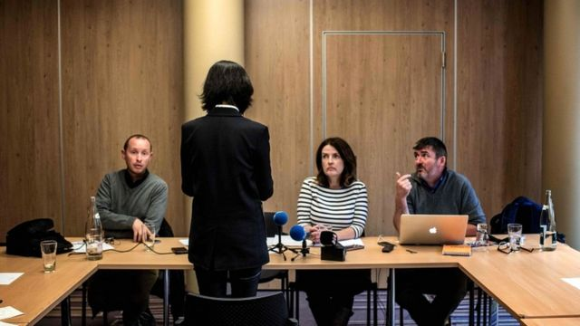 Grace Meng talks to journalists on October 7, 2018 in Lyon during a press conference during which she did not want her face to be shown