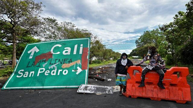 Bloqueo de protesta en Colombia