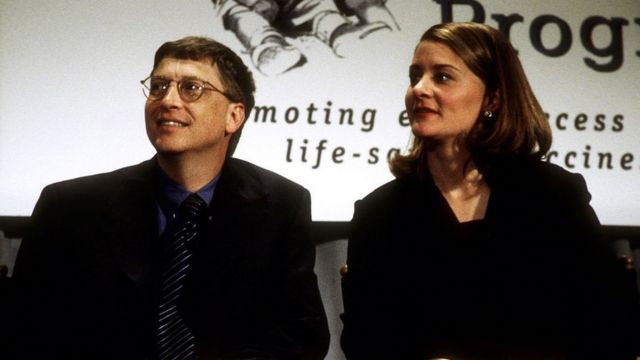 Bill Gates and wife Melinda Gates donate a $100M cheque to the Program for Appropriate Technology in Health in 1998