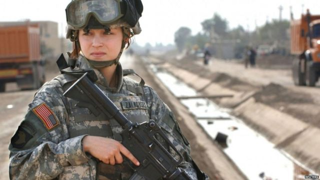 A female officer on guard in Iraq