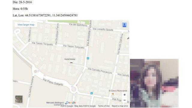 Localización de una usuaria, con las coordenadas exactas, que permitía la aplicación de Tinder.