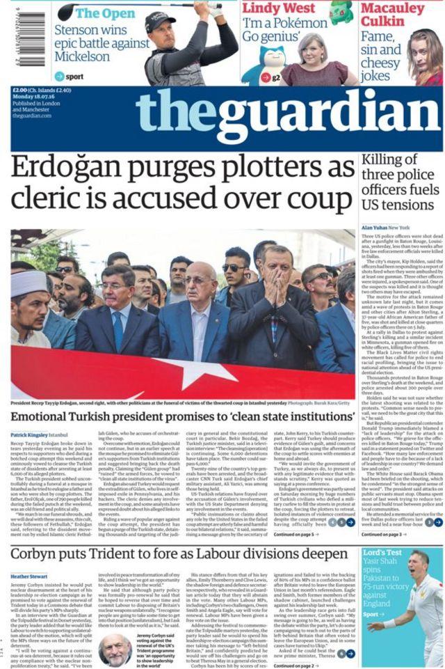 Guardian gazetesi 18 Temmuz manşeti