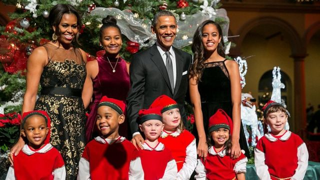 Obama family with elves at Christmas in Washington concert 2014.