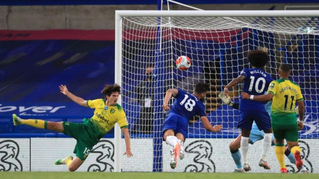 Olivier Giroud scores for Chelsea against Norwich.