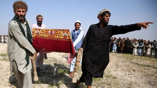 A funeral in Afghanistan for civilians killed in a US drone strike