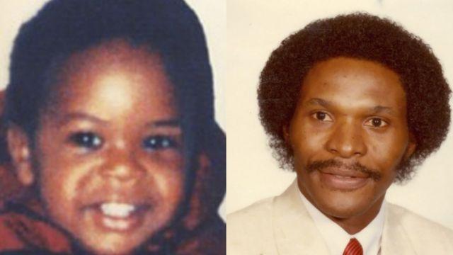 Jermaine Allan Mann quando criança e Allan Mann em uma foto antiga