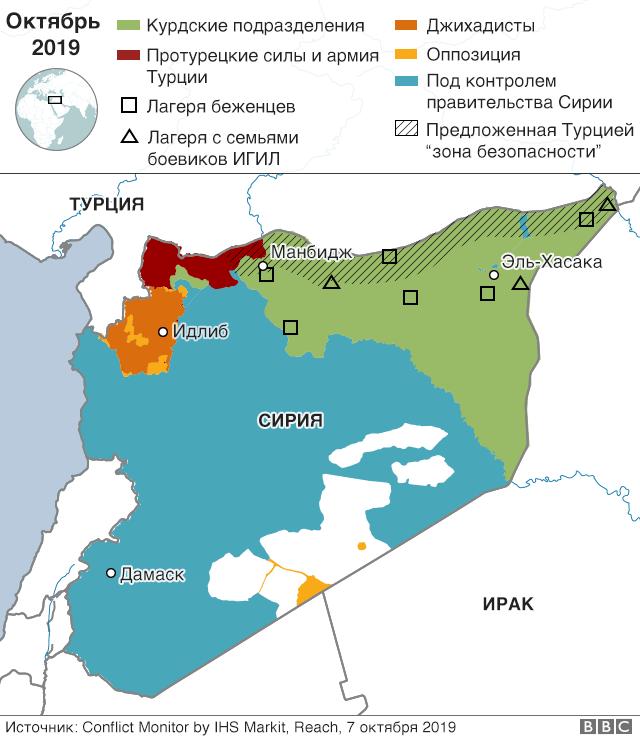 карта тюрем и лагерей на севере Сирии