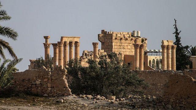 প্রাচীন শহর পালমাইরার ধ্বংসাবশেষ।