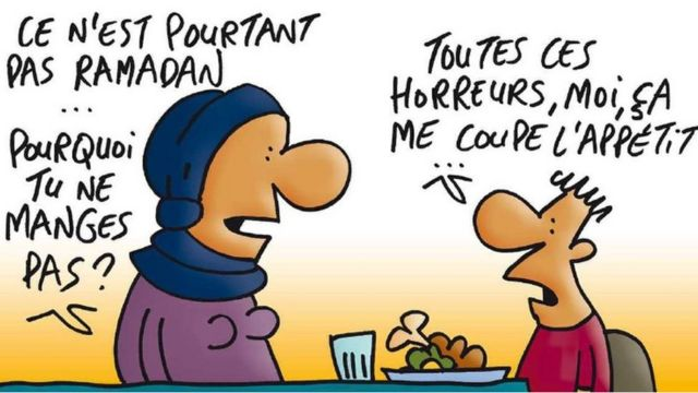 「ラマダンじゃないのにどうして食べないの?」と母親に尋ねられた子供が、「恐ろしいことばかりで食欲がないんだ」と答えるイラストが、フランスの子供向け新聞に掲載された。