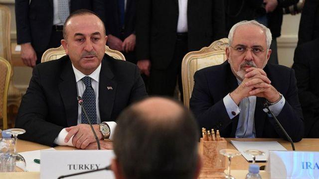 Dışişleri Bakanı Çavuşoğlu ve İran Dışişleri Bakanı Cevad Zarif (sağda)