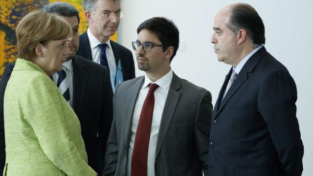 Angela Merkel, Freddy Guevara y Julio Borges.