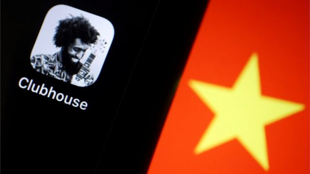 Clubhouse app icon seen next to a Chinese flag star