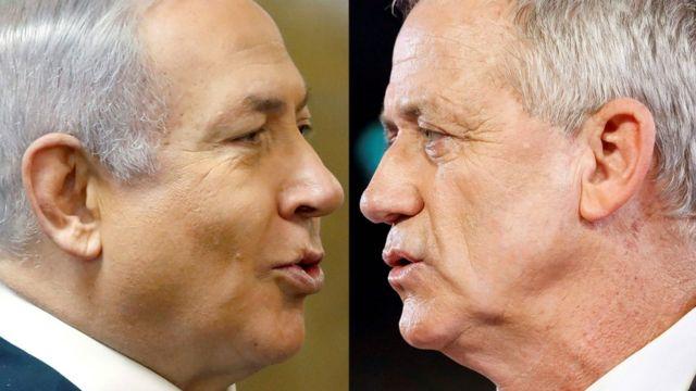 Composite showing Israeli Prime Minister Benjamin Netanyahu and former Israeli chief of staff Benny Gantz
