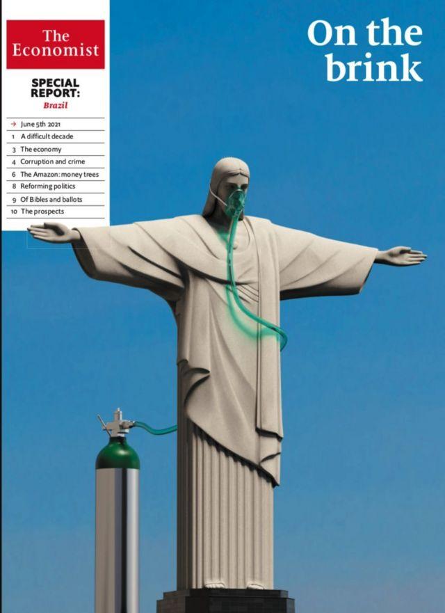 "Capa da revista 'The Economist' mostra Cristo Redentor com máscara de oxigênio e a manchete ""Na beira"""