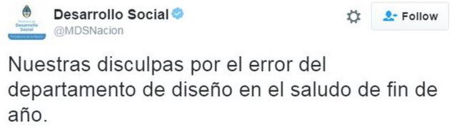 Tuiter de disculpas del ministerio de Desarrollo Social.