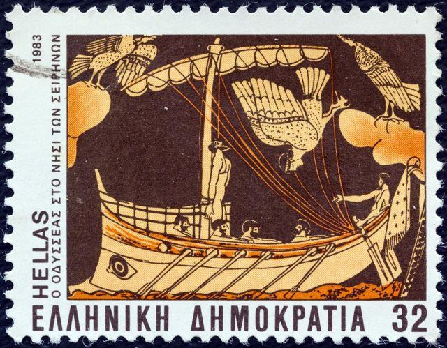 Odisej zavezan za jarbol na poštanskoj markici iz Grčke