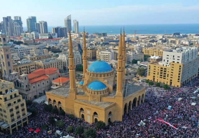 Protesters in downtown Beirut