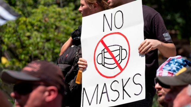 Manifestación en Estados Unidos contra el uso de mascarillas