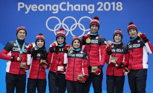 The Canadian skating team pose with their gold medals