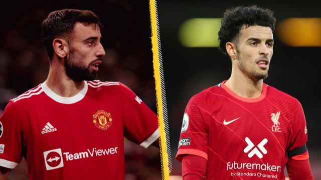 Man Utd's Bruno Fernandes and Liverpool's Curtis Jones - split picture graphic