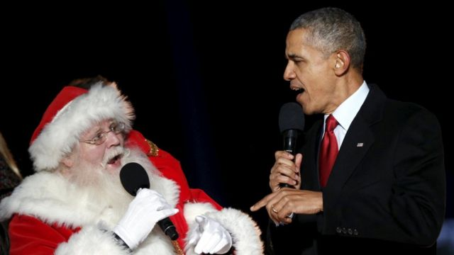 Father Christmas and President Obama