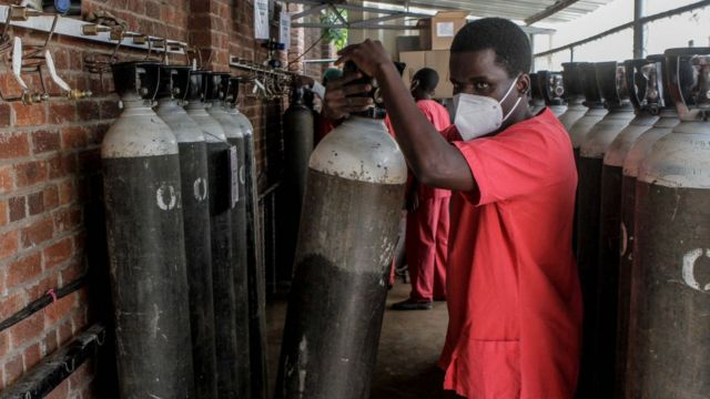 An oxygen filling center in Harare