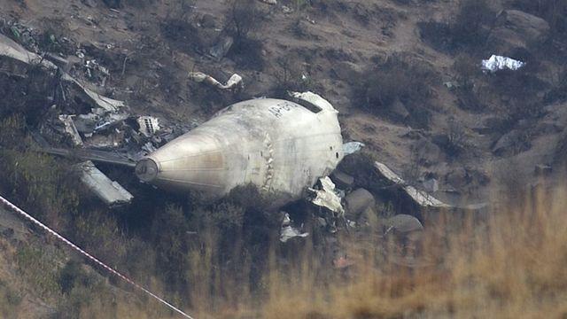 पाकिस्तान में दिसंबर 2016 में दुर्घटनाग्रस्त हुए पीआईए के विमान का मलबा.