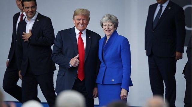 Trump - May at NATO Summit