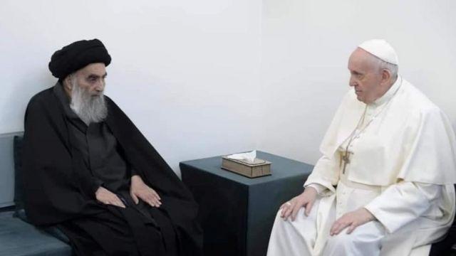 Papa Francesco, Irak'ta Şii lider Ayetullah El Sistani ile görüştü - BBC News Türkçe