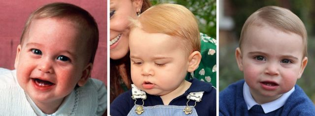 Prince William on 15/3/1983, Prince George on 2/11/2014 and an undated photo of Prince Louis, on or around their first birthday.