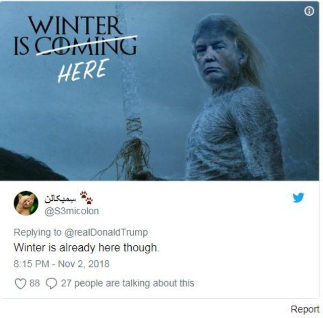 """کاربران ایرانی گفتهاند """"زمستان اینجاست"""""""