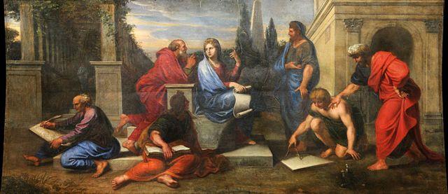 Aspásia rodeada por filósofos gregos, como Michel Corneille II a imaginou por volta de 1680